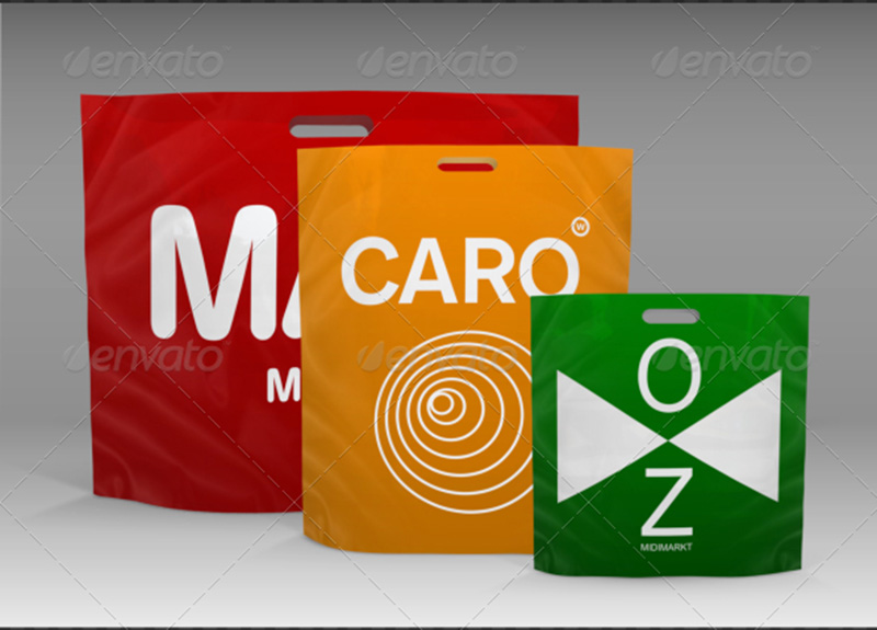 best plastic shopping bag design mockup in psd
