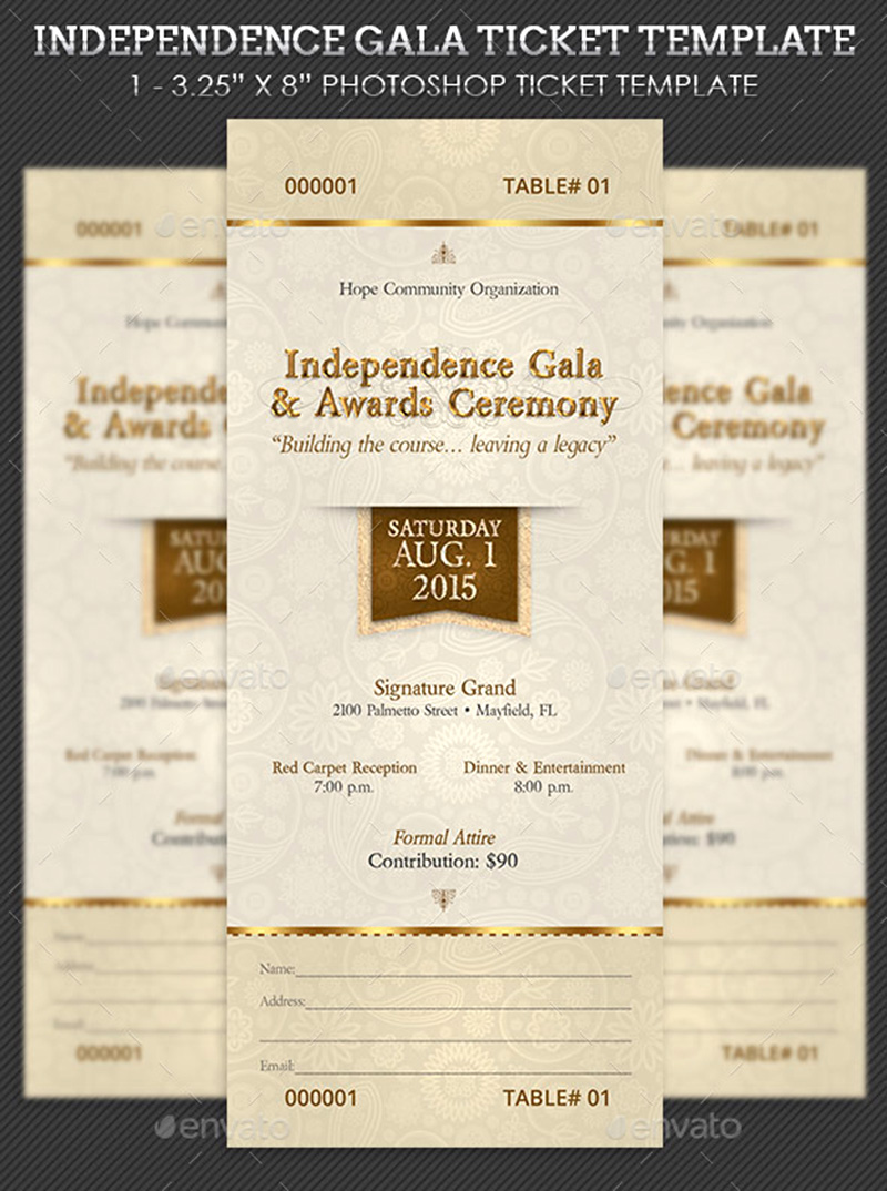 15 Free Event Ticket Mockups Mockup Depot Independence Gala Ticket Template  15 Free Event Ticket Mockups  Dinner Tickets Template