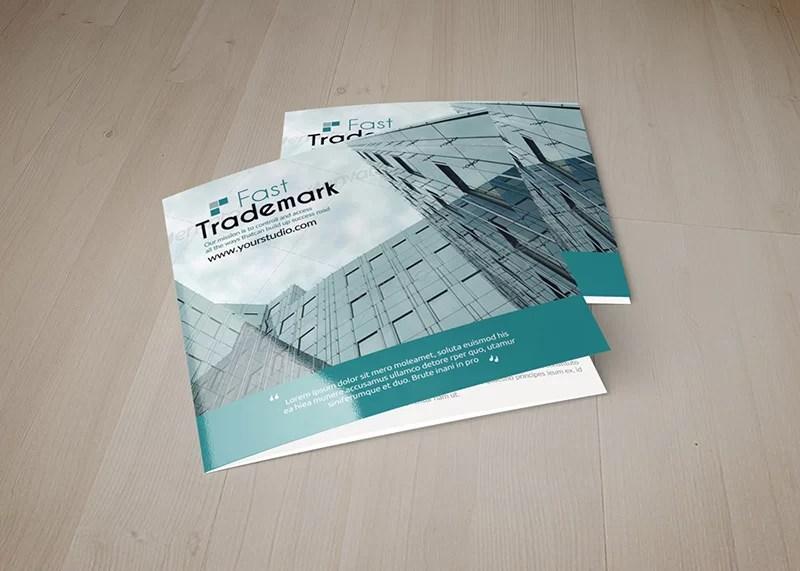 best business brochure square psd mockup tri-fold premium template