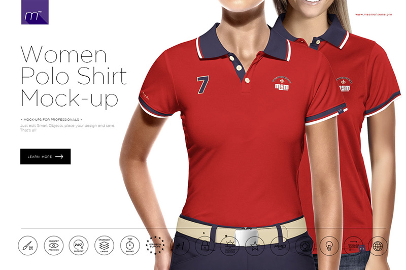 fantastic women's polo shirt premium psd mockup