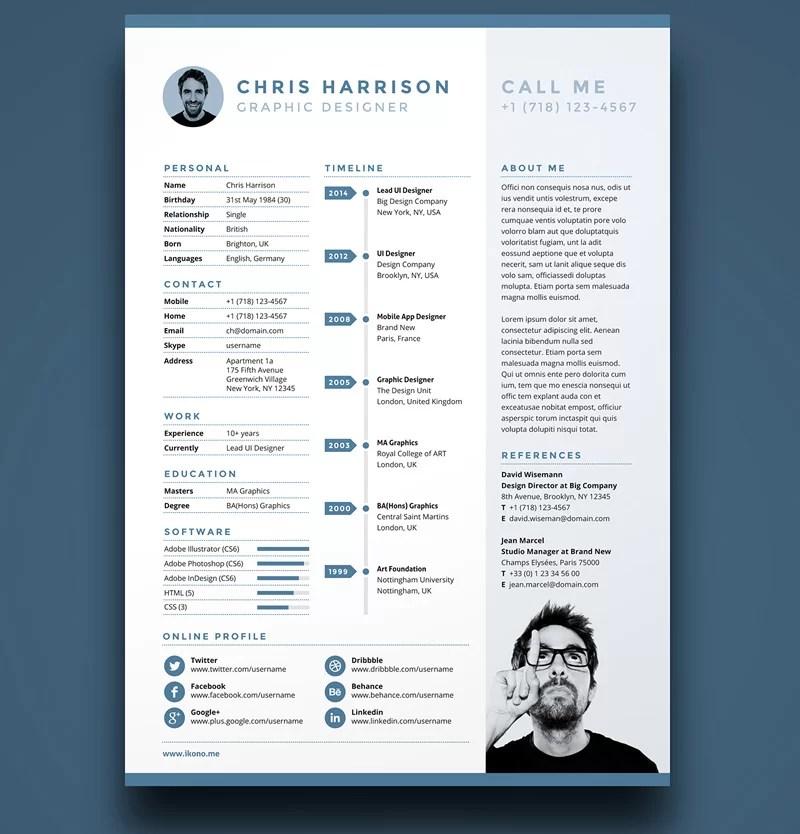 25  modern and wonderful psd resume templates free