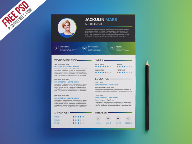 Modern And Wonderful Psd Resume Templates Free