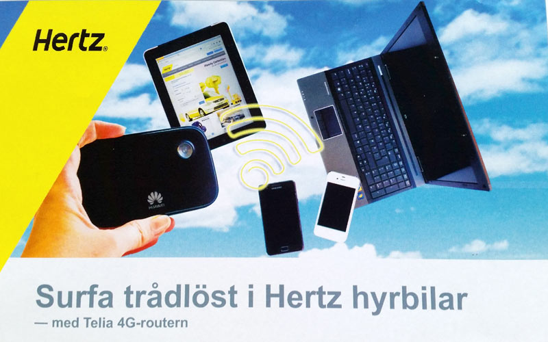 Foto och montage för att produktlansera ny tjänst, WiFi i hyrbilen