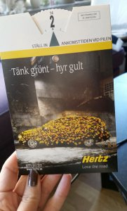 En parkeringsskiva jag tog fram för Hertz