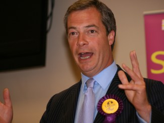 UKIP Leader Nigel Farage speaking at the UKIP Party Conference in 2009