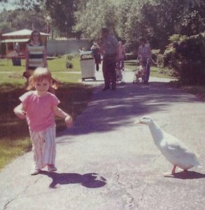 Expressing my independence at age 2. Even the ducks are impressed.