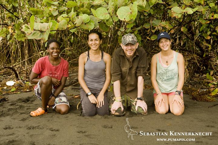 Jizel Miles, Eleonore Hachemen, Ian Thomson, and Eleonore Hachemen, Coastal Jaguar Conservation Project, Tortuguero National Park, Costa Rica