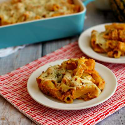 Rigatoni noodles, covered in creamy pumpkin mixture, and enveloped with ricotta and mozzarella cheeses, creates this delectable Cheesy Pumpkin Pasta.