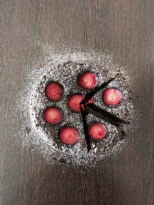 chocolate and plum cake