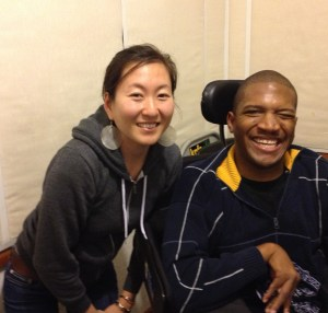Mia Mingus and Lateef McLeod in KPFA's on-air studio after the recording.