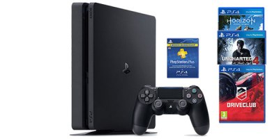 PS4 Slim 500GB Bundle with Driveclub, Horizon Zero Dawn, Uncharted 4, and Three Months ...