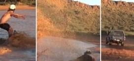 فيديو: متهوران يتزلجان على المياه مستخدمين سيارة !!