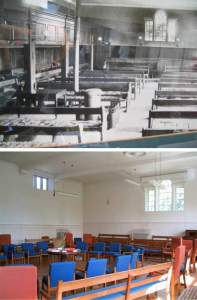 Top photo is a framed picture of the Lancaster U.K. Meetinghouse from the early 20th century--long benches lined up end to end, balcony. By the time of my visit, there were cushioned independent chairs arranged in a circle.