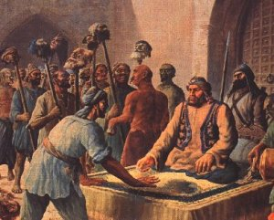 The severed heads were tied up in rugs like bundles of grain and placed on the heads of the captives…Then the heads were stuck upon lances and taken to the gate of the chief minister for payment.