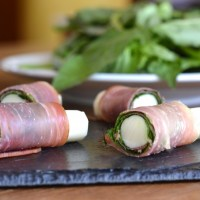 Prosciutto and Basil Wrapped Mozzarella Sticks