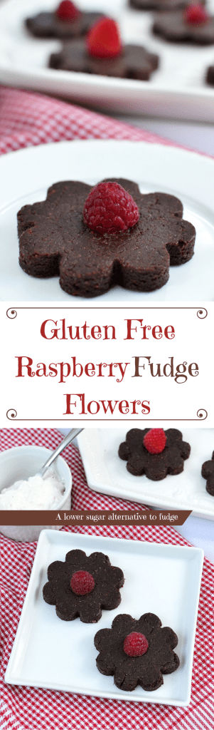 Satisfy your sweet tooth with Gluten Free Raspberry Fudge Flowers. They require no baking and have 75% less sugar than traditional fudge. | QueenofMyKitchen.com