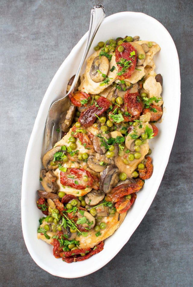 Chicken Marsala with Peas and Sun Dried Tomatoes