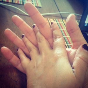 I have small hands and a bad manicure. She has large hands and a gentle touch.