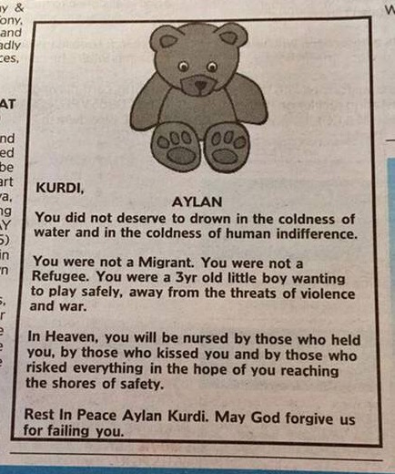 Aylan Kurdi Obituario