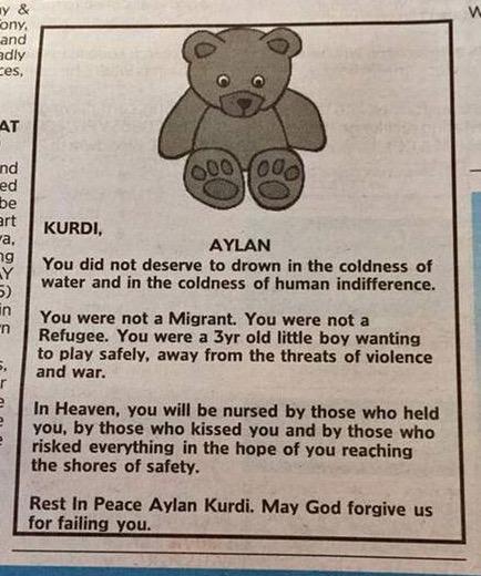 Aylan Kurdi Obituario
