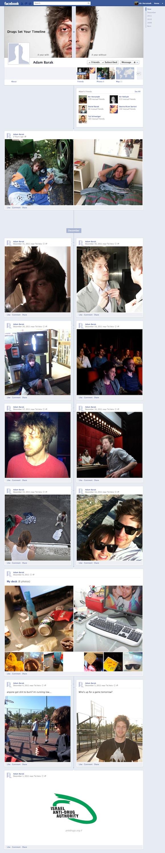 Campaña anti drogas con el Timeline de Facebook