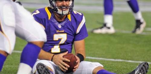 Minnesota Vikings quarterback Christian Ponder smiles after a short run against the Buffalo Bills in first half action at the Metrodome in Minneapolis, Friday, August 17, 2012. (Pioneer Press: Chris Polydoroff)