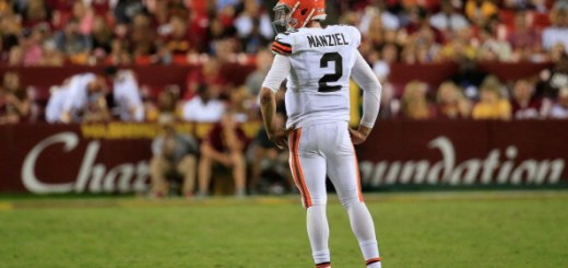 LANDOVER, MD - AUGUST 18:  Qarterback Johnny Manziel #2 of the Cleveland Browns looks on during a preseason game against the Washington Redskins at FedExField on August 18, 2014 in Landover, Maryland.  (Photo by Rob Carr/Getty Images)