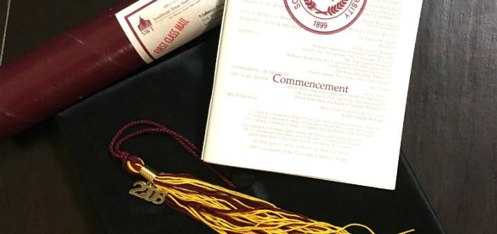 My college gradation diploma, program, hat and tassle