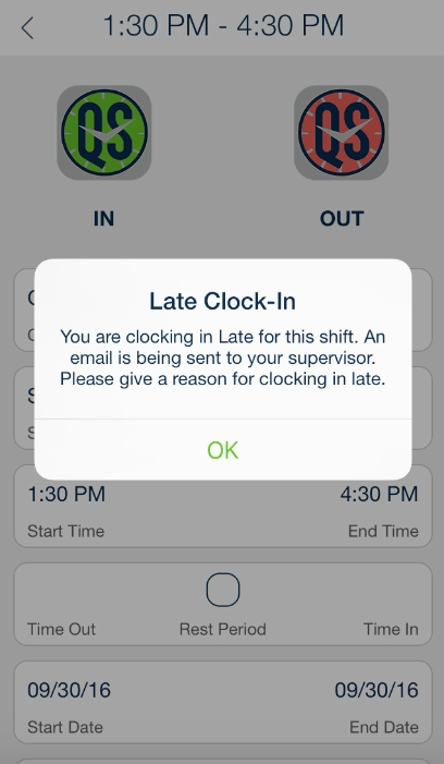 QSClock Timeliness Alert