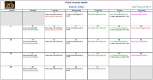 printed calendar of QSP schedule