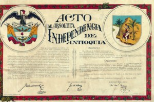 Acto de independencia Antioquia