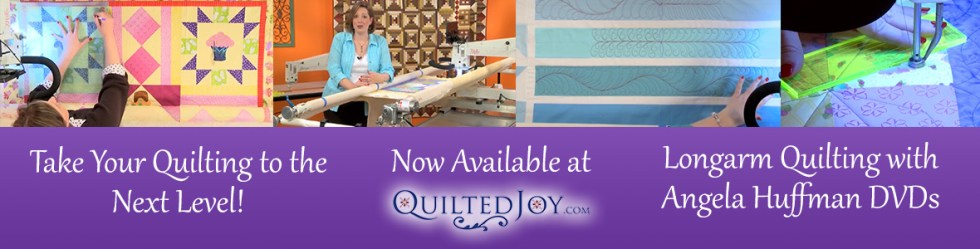 Longarm Quilting with Angela Huffman DVDs available at Quiltedjoy.com