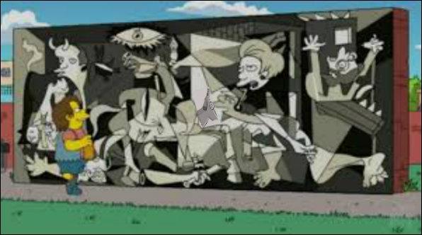 Cette fois, un écolier de Springfield contemple un tableau de Pablo Picasso :
