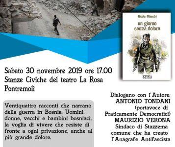 """PONTREMOLI - Presentazione del libro """"Un giorno senza dolore"""", sulla guerra nella ex Jugoslavia"""