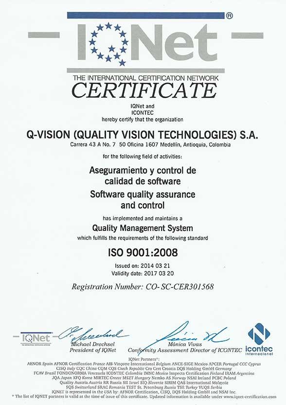 Certificación ISO 9001-1 Q-Vision