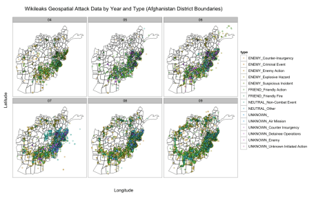 Wikileaks attack data by year and type, over Afghanistan regional map