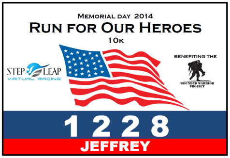 Run For Our Heroes, 10k race bib