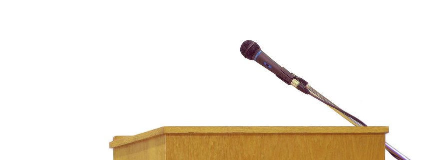 photo of a podium with a microphone