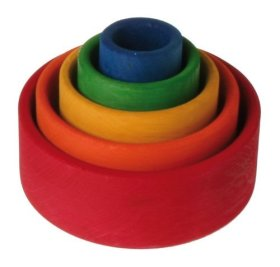 stacking and nesting wooden rainbow bowls