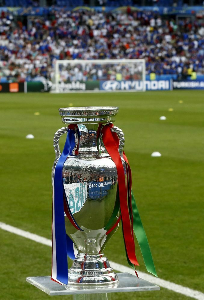 """epa05418969 The Euro trophy called """"Coupe Henri Delaunay"""" prior the UEFA EURO 2016 Final match between Portugal and France at Stade de France in Saint-Denis, France, 10 July 2016.   (RESTRICTIONS APPLY: For editorial news reporting purposes only. Not used for commercial or marketing purposes without prior written approval of UEFA. Images must appear as still images and must not emulate match action video footage. Photographs published in online publications (whether via the Internet or otherwise) shall have an interval of at least 20 seconds between the posting.)  EPA/ABEDIN TAHERKENAREH   EDITORIAL USE ONLY"""