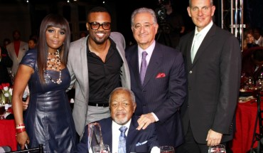 BMI Vice President, Writer-Publisher Relations Catherine Brewton; Executive Director, Writer/Publisher Relations Wardell Malloy; BMI President Del Bryant, and BMI CEO Mike O'Neill, flank 2014 BMI Trailblazers honoree Daryl Coley at the 15th Annual BMI Trailblazers of Gospel Music Awards Luncheon