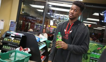 "NBA star Jimmy Butler enjoys a Mountain Dew during the filming of ""Make An Introduction"", a television spot airing in the U.S. and Canada during NBA All-Star 2016 featuring DEW(R)athletes and 2016 NBA All-Stars Russell Westbrook and Jimmy Butler, and rising star Julius Randle. The shoot was held in Los Angeles on Jan. 27, 2016. (Casey Rodgers/AP Images for Mountain Dew) (PRNewsFoto/Mountain Dew)"