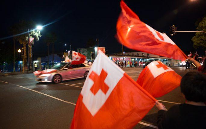 Tonga fans celebrate in Otahuhu
