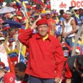 Venezuelan president Hugo Chavez at rally
