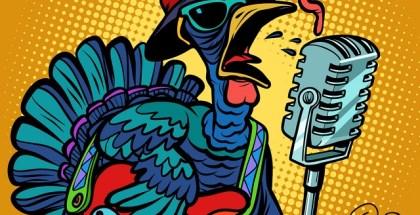 Thanksgiving Turkey character singer. Holiday party. Comic cartoon pop art retro vector illustration