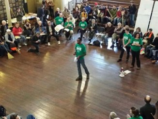 From inside Quaker Meetinghouse in Philly - final planning for action. Photo credit: Environmental Action