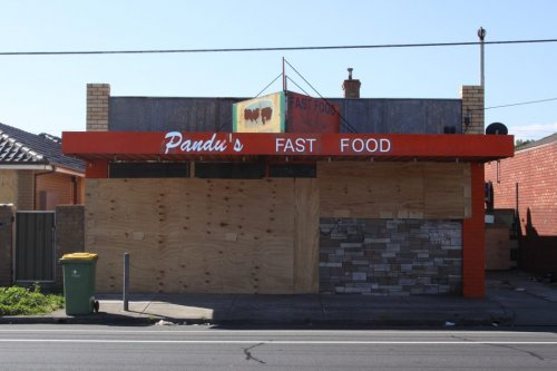 172 Buckley Street, Pandu's Fast Food. Vacant and boarded up