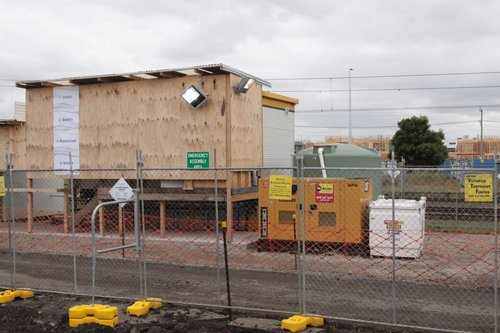 Site huts and diesel genset at the West Footscray compound