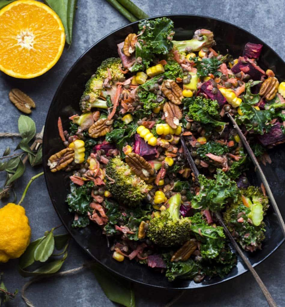 wintery beetroot lentil salad