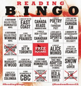 CanLit Reading Bingo 2015 Crossed Out